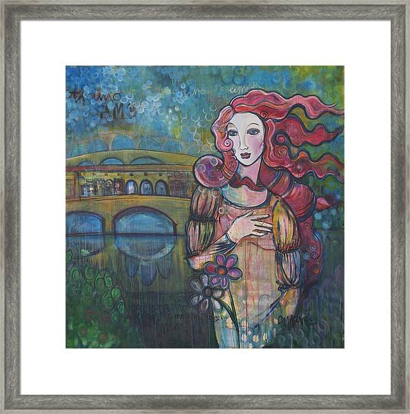 Framed Print featuring the painting Venus And The Ponte Vecchio  by Laurie Maves ART
