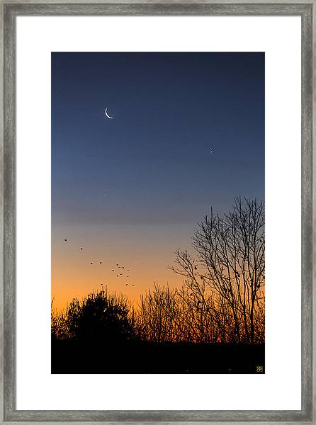 Venus, Mercury And The Moon Framed Print