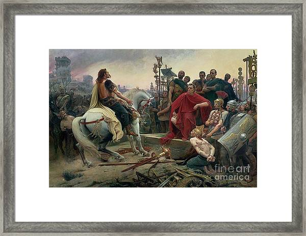 Vercingetorix Throws Down His Arms At The Feet Of Julius Caesar Framed Print