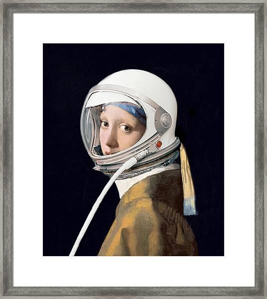 Vermeer - Girl In A Space Helmet Framed Print