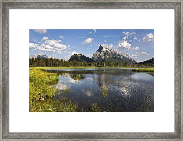 Vermillion Lake And Sulpher Mountain Framed Print