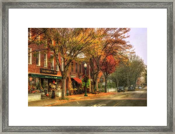 Vermont General Store In Autumn - Woodstock Vt Framed Print