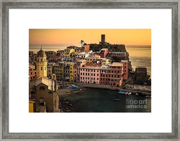 Vernazza At Sunset Framed Print