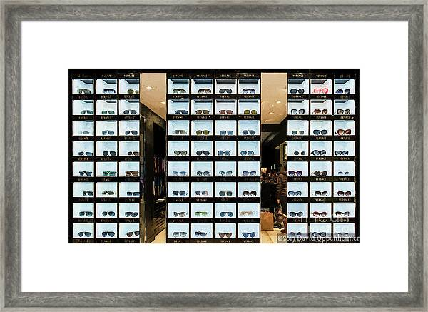 227a62011937 Versace Sunglasses At Store In Nyc Framed Print by David Oppenheimer