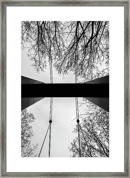 Framed Print featuring the photograph Vertical Bridge In Bw by Nikos Stavrakas