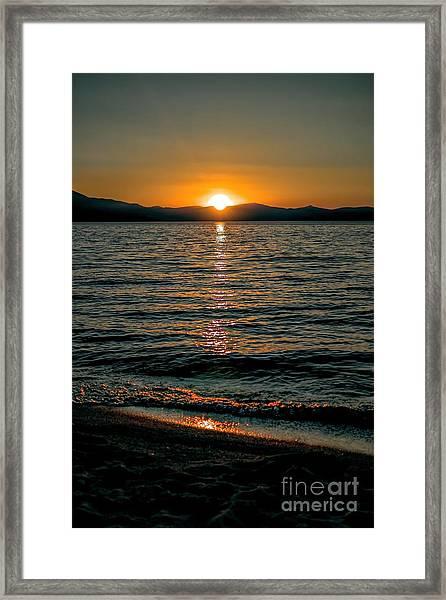 Vertical Sunset Lake Framed Print