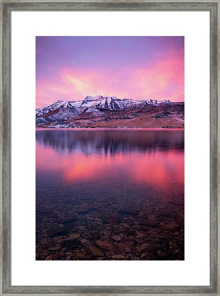 Vertical Winter Timp Reflection. Framed Print