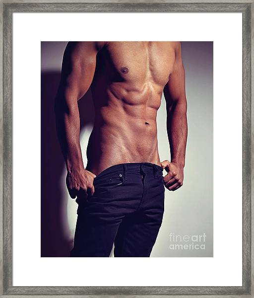 Very Sexy Man With Great Muscular Body Framed Print