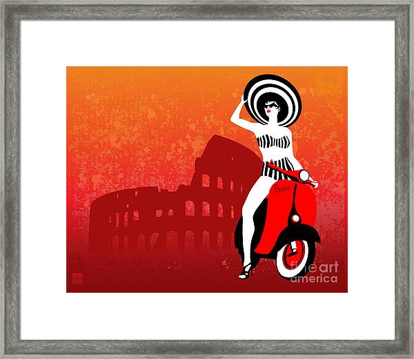 Vespa Girl Framed Print