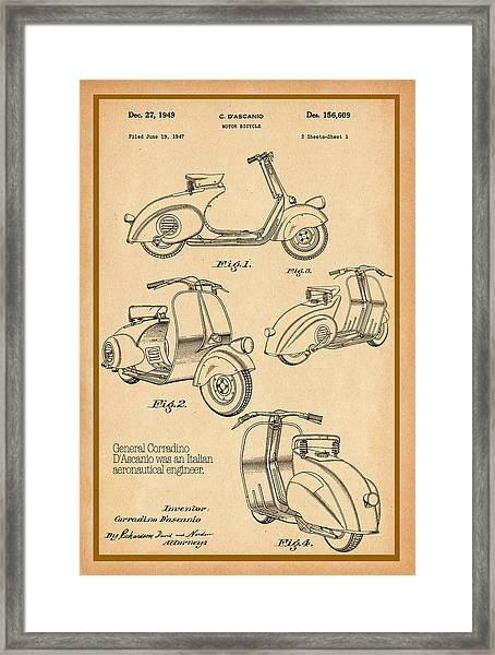 Vespa Patent Drawing Framed Print
