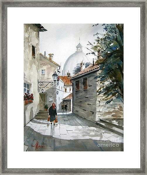 Via Coronari Framed Print