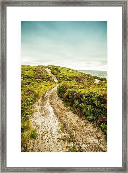 Vibrant Green Hills And Ocean Tracks Framed Print