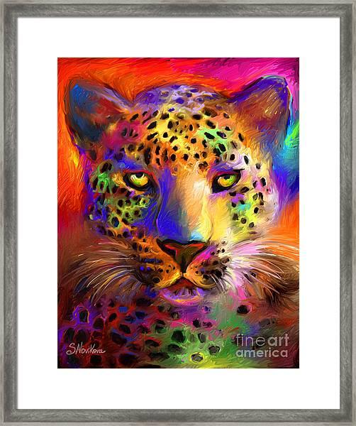 Vibrant Leopard Painting Framed Print