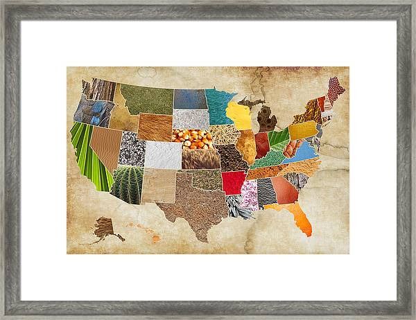Vibrant Textures Of The United States On Worn Parchment Framed Print