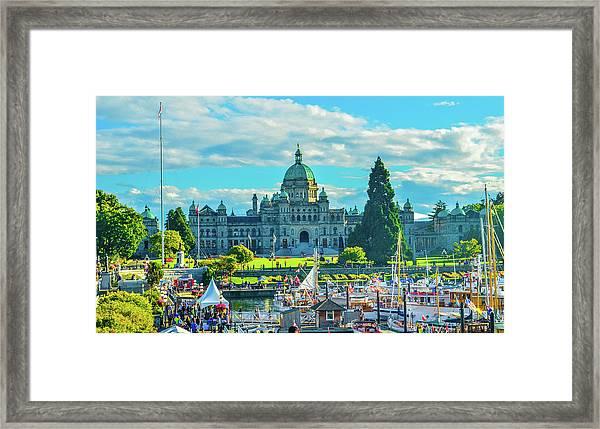 Victoria Bc Parliament Harbor Framed Print