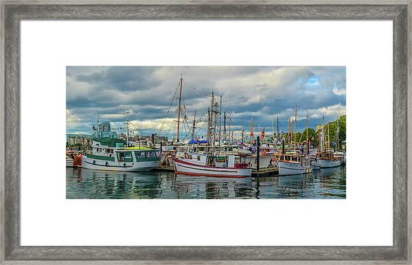 Victoria Harbor Boats Framed Print