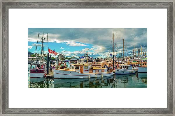 Victoria Harbor Old Boats Framed Print