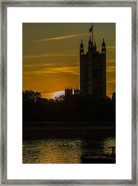 Victoria Tower In London Golden Hour Framed Print