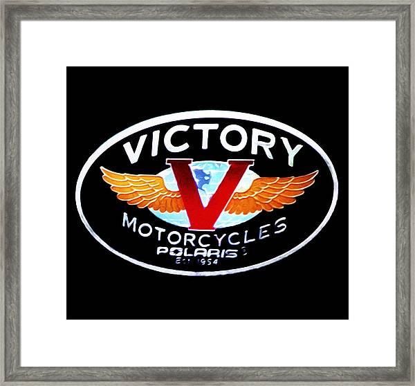 Victory Motorcycles Emblem Framed Print
