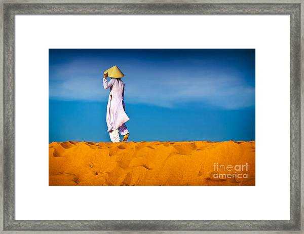 Vietnamese Woman In The Red Sand Dunes Mui Ne Vietnam Framed Print
