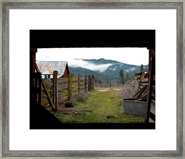 Framed Print featuring the photograph View From A Barn by Lorraine Devon Wilke