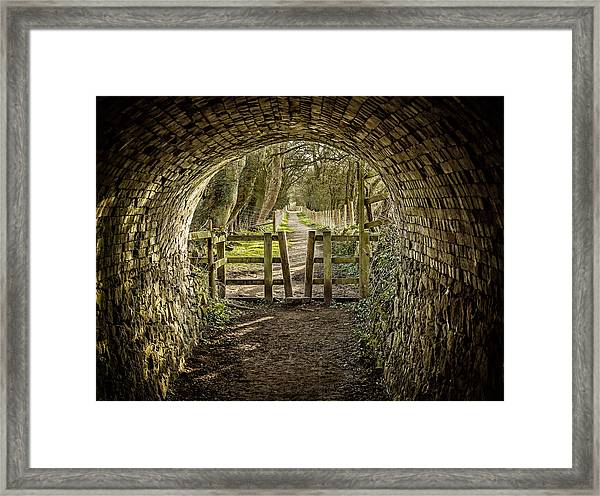 Framed Print featuring the photograph View From The Tunnel by Nick Bywater