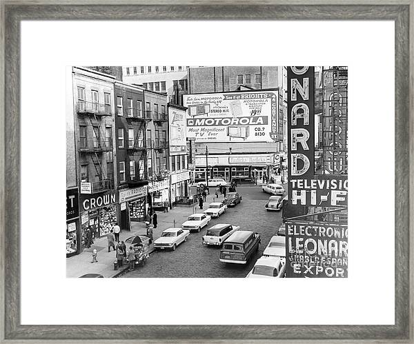View Of Doomed Stores Of Radio Row In Manhattan New York. 1962. Framed Print by Anthony Calvacca