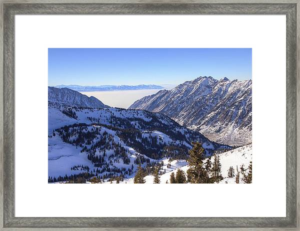 View Of Little Cottonwood Canyon From Hidden Peak Framed Print