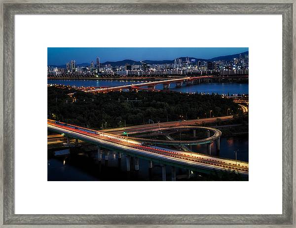 View Of Seoul City At Night Framed Print