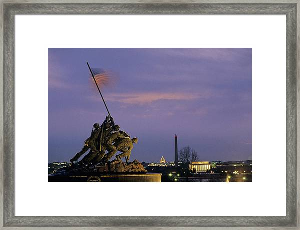 View Of The Iwo Jima Monument Framed Print
