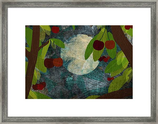 View Of The Moon And Cherries Growing On Trees At Night Framed Print