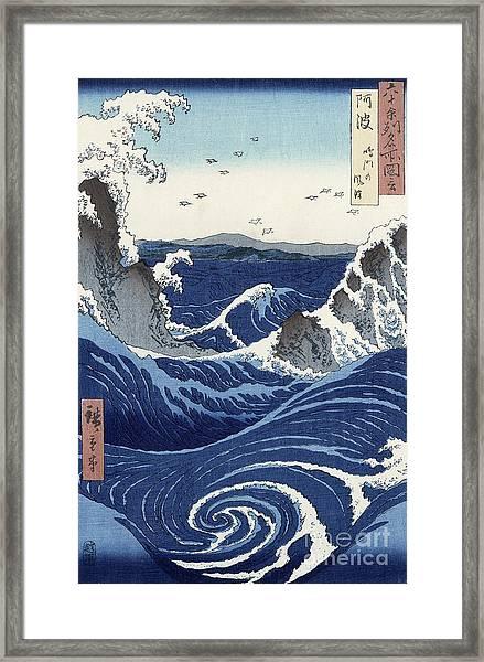 View Of The Naruto Whirlpools At Awa Framed Print