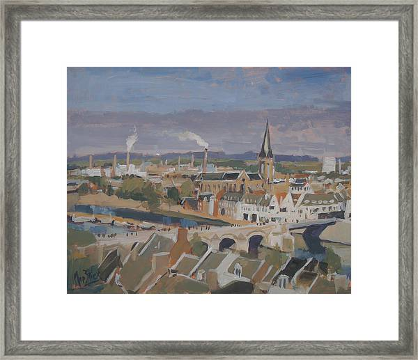 View To The East Bank Of Maastricht Framed Print