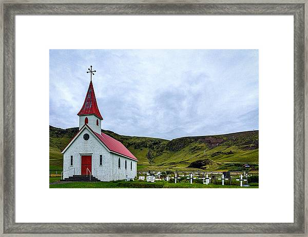Vik Church And Cemetery - Iceland Framed Print