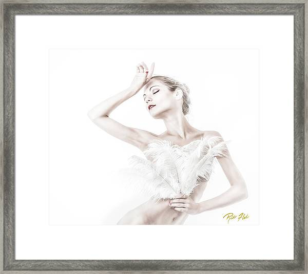 Viktory In White - Feathered Framed Print