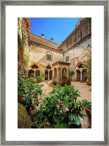 Villa Cimbrone Courtyard Framed Print