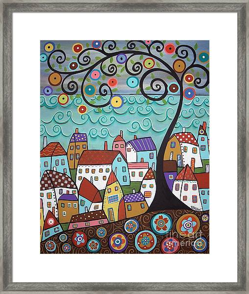 Village By The Sea Framed Print