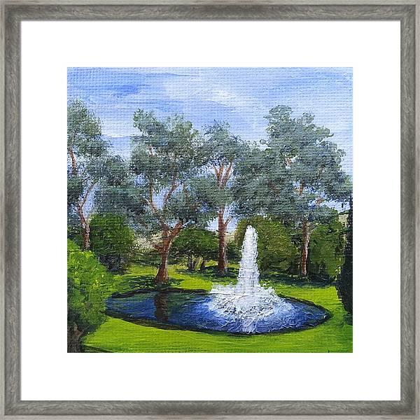Village Fountain Framed Print