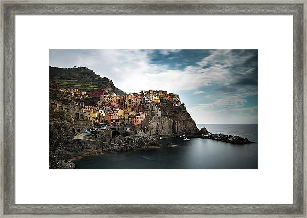 Village Of Manarola Cinqueterre, Liguria, Italy Framed Print