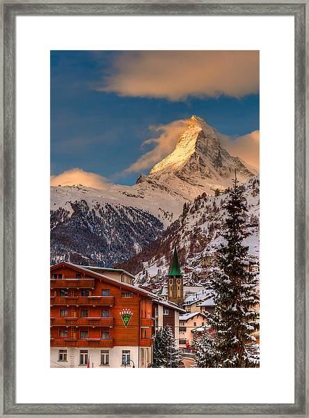 Village Of Zermatt With Matterhorn Framed Print