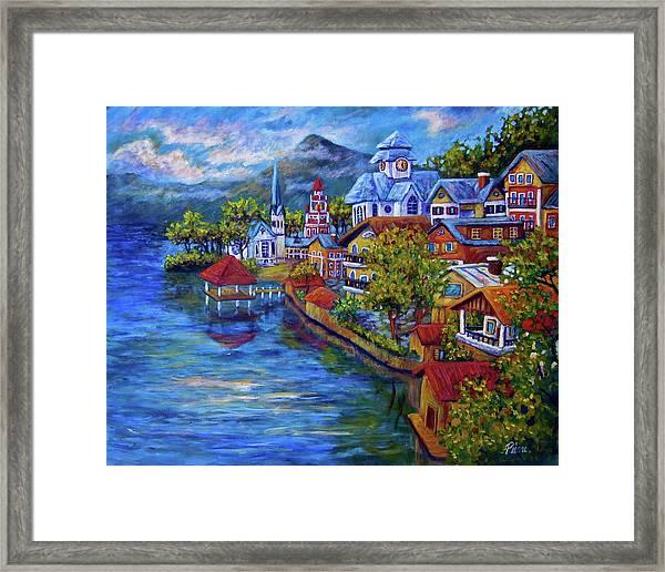 Village On The Lake Framed Print