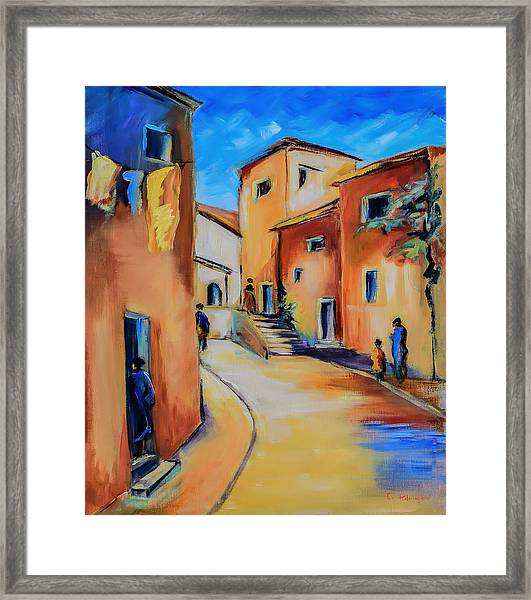 Framed Print featuring the painting Village Street In Tuscany by Elise Palmigiani