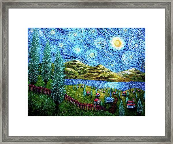 Village Under The Stars Framed Print