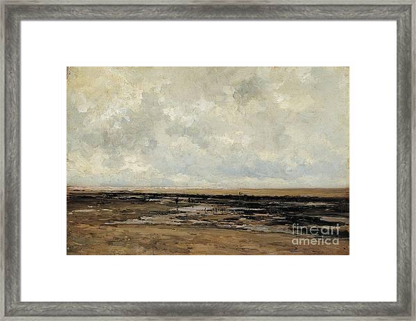 Villerville Beach In Normandy Framed Print