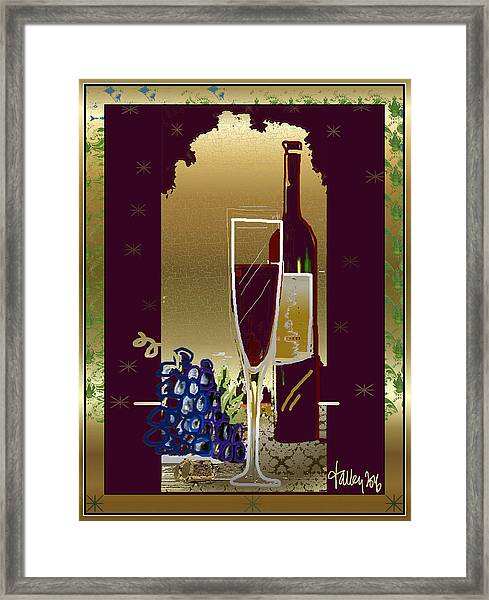 Framed Print featuring the digital art Vin Pour Une by Larry Talley
