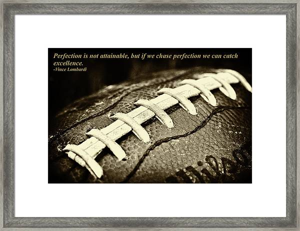 Vince Lombardi Perfection Quote Framed Print