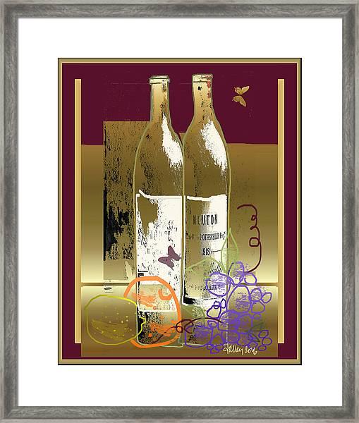 Vin, Fruit, Et Papillons Framed Print