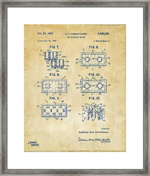 Vintage 1961 Lego Brick Patent Art Framed Print