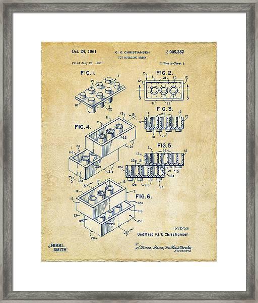 Vintage 1961 Toy Building Brick Patent Art Framed Print