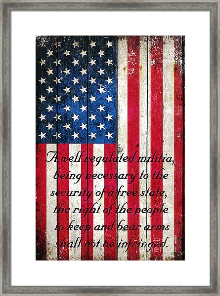 Vintage American Flag And 2nd Amendment On Old Wood Planks Framed Print